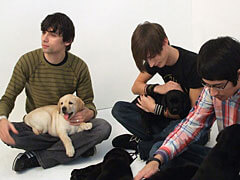 Bloc Party Members Play With Puppies