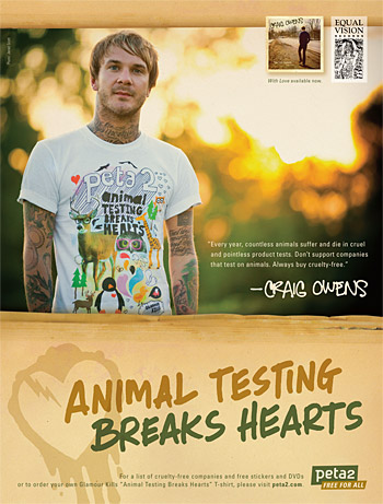 Craig Owens' 'Animal Testing Breaks Hearts' PSA