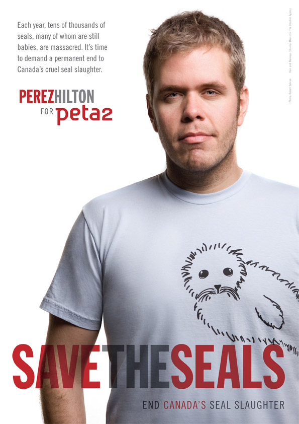 Perez Hilton's 'Save The Seals' Ad Featured