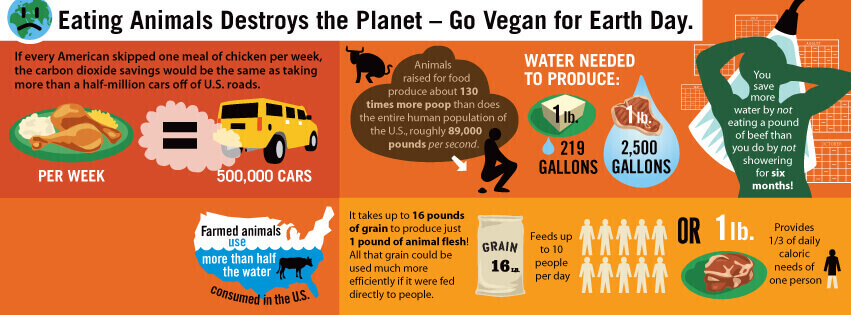 peta2 Go Vegan for Earth Day infographic