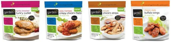 gardein has a great variety of vegan faux meats like turk'y and chk'n