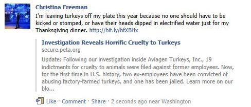 example for peta2's share your love for turkeys on facebook mission