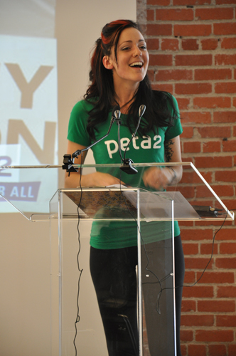 peta2 tour manager at PETA LA event