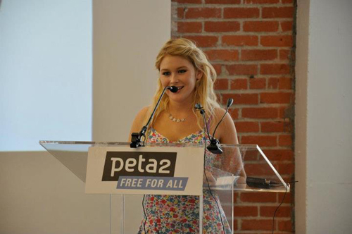 celebrity actress speaks at PETA Los Angeles office