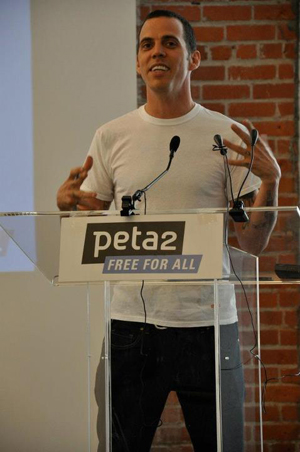 celebrity actor speaks at PETA Los Angeles office