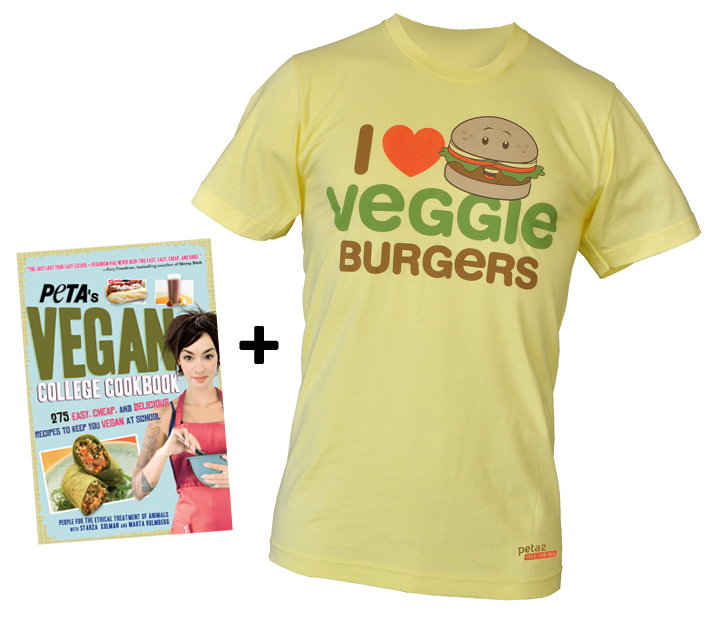 peta2's I Love Veggie Burgers tshirt and Vegan College Cookbook pack