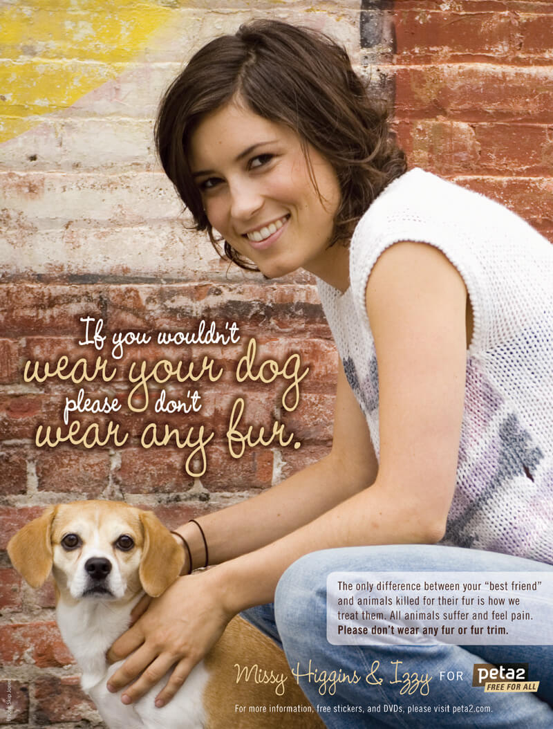 """Missy Higgins """"If You Wouldn't Wear Your Dog"""" anti-fur PSA for peta2"""