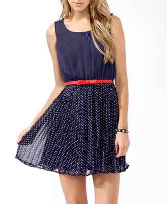 Forever 21 pleated polka dot dress with belt