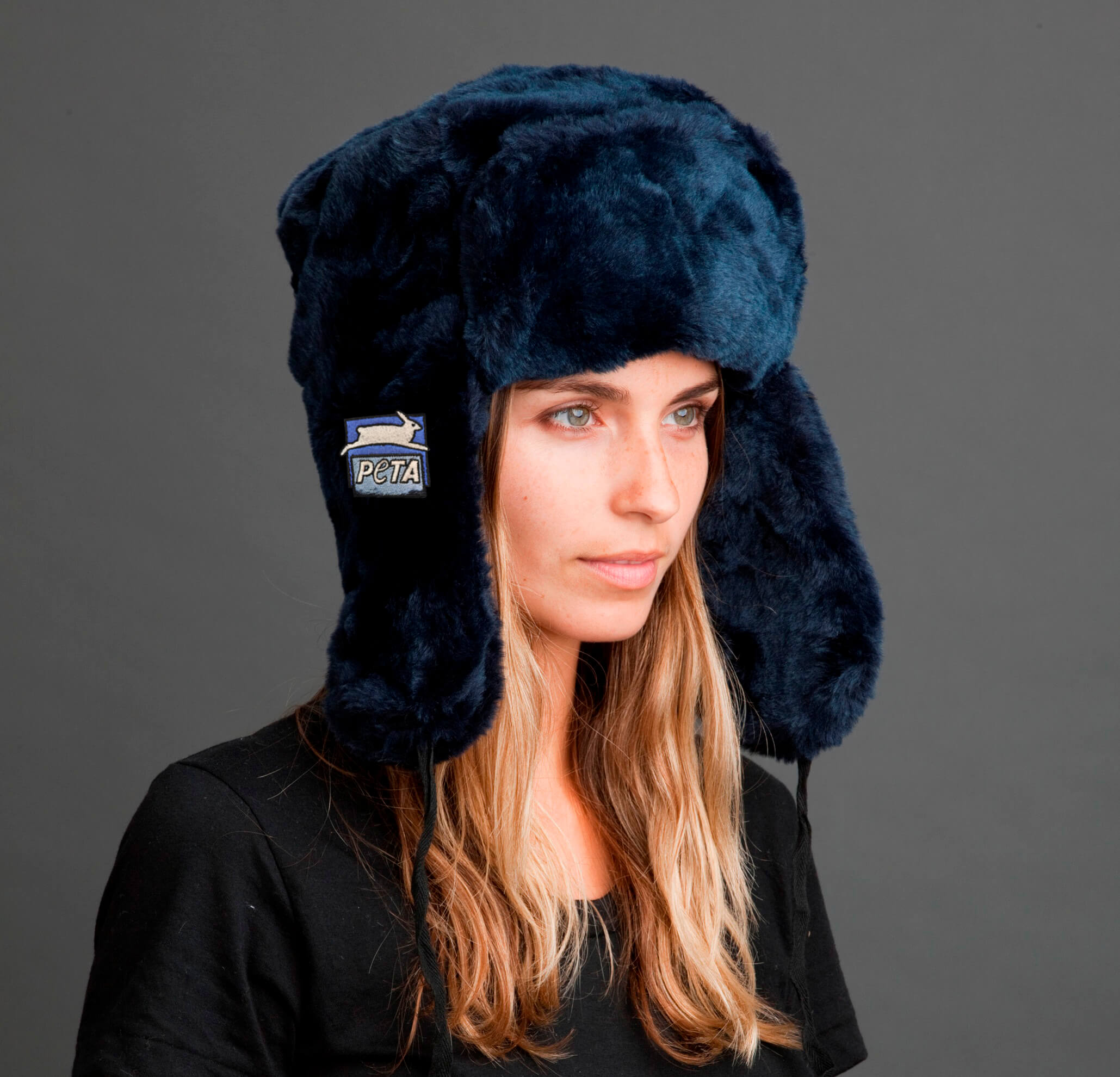 PETA navy blue faux fur Tundra hat