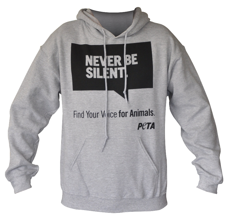 peta2 grey Never Be Silent campaign logo hooded sweatshirt