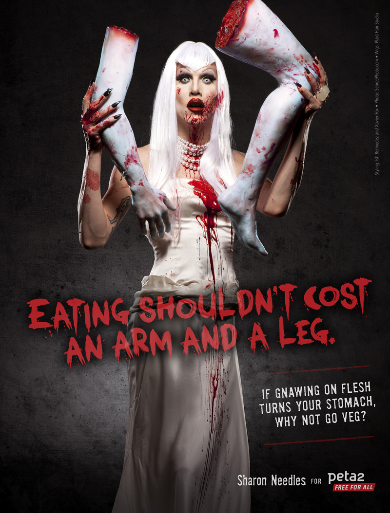 Sharon Needles, winner of RuPaul's Drag Race in a vegetarian PSA for peta2, the youth division of PETA
