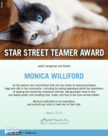 Monica Williford Street Team award