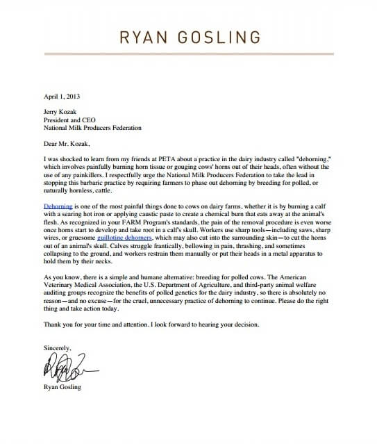 Ryan Gosling's letter to National Milk Producers Federation Jerry Kozak, calling for the phase out of dehorning by farmers