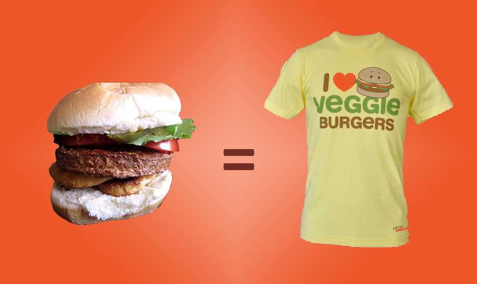 Get a veggie burger in your school and get a free peta2 veggie burger tshirt
