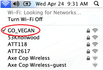 "I named my WiFi network ""GO_VEGAN"""