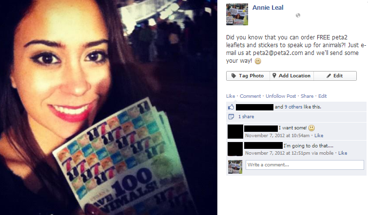 Screenshot of passing out leaflets facebook