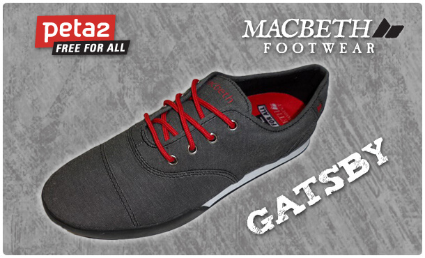 "peta2 non-leather vegan Macbeth shoe the ""Gatsby"" grey background"