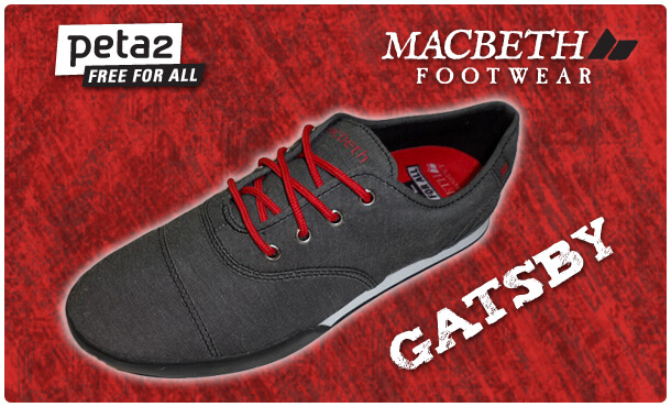 "peta2 non-leather vegan Macbeth shoe the ""Gatsby"" red background"