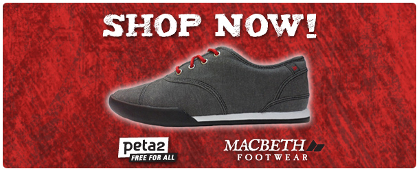 peta2 Macbeth First Step campaign shop now red footer