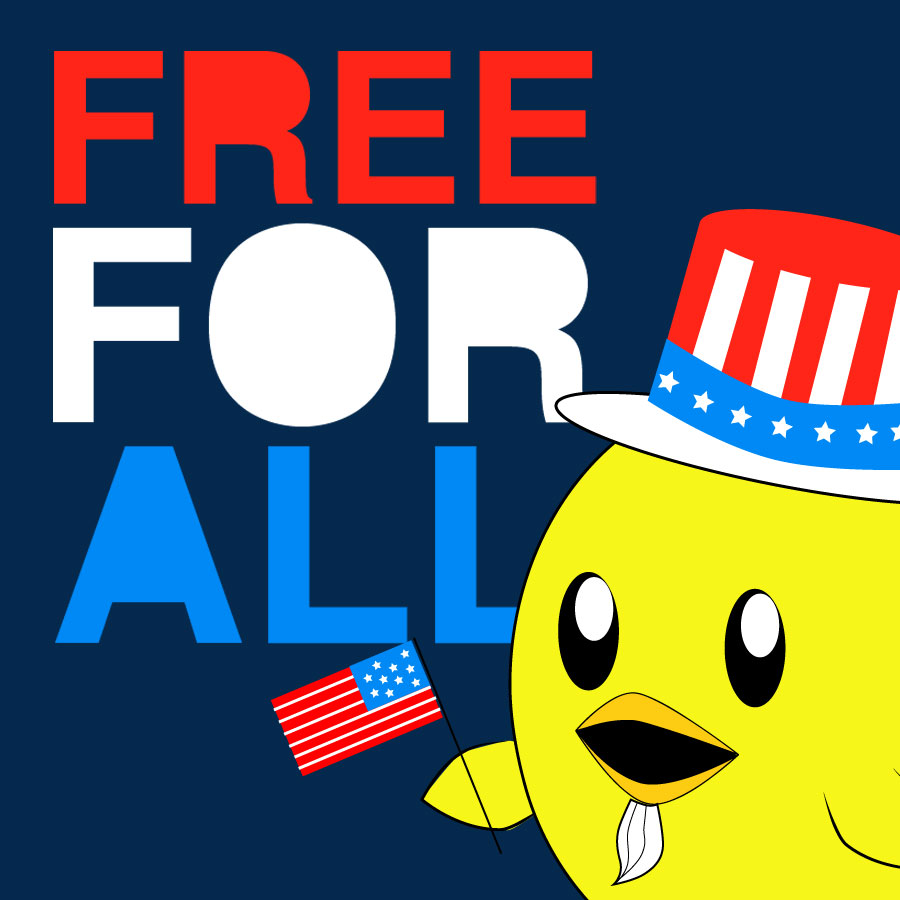 peta2 4th of July patriotic Free For All Nugget
