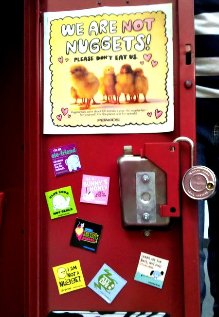 Locker with peta2 stickers.