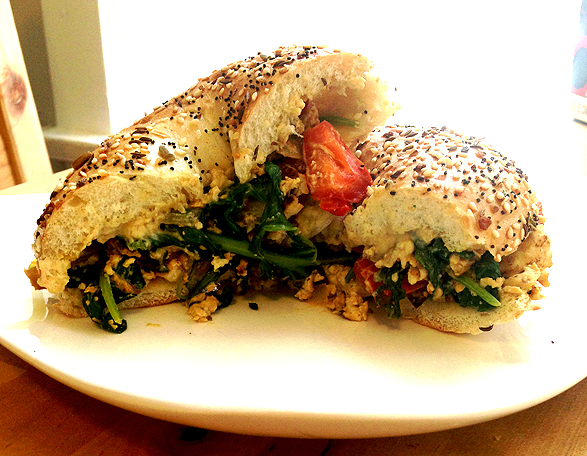tofu scramble bagel