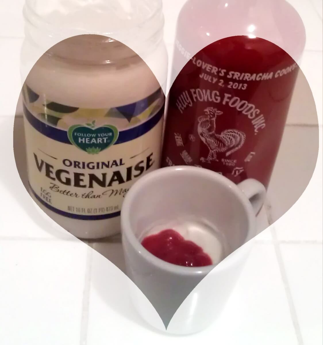 follow your heart vegenaise and sriacha chili sauce aioli
