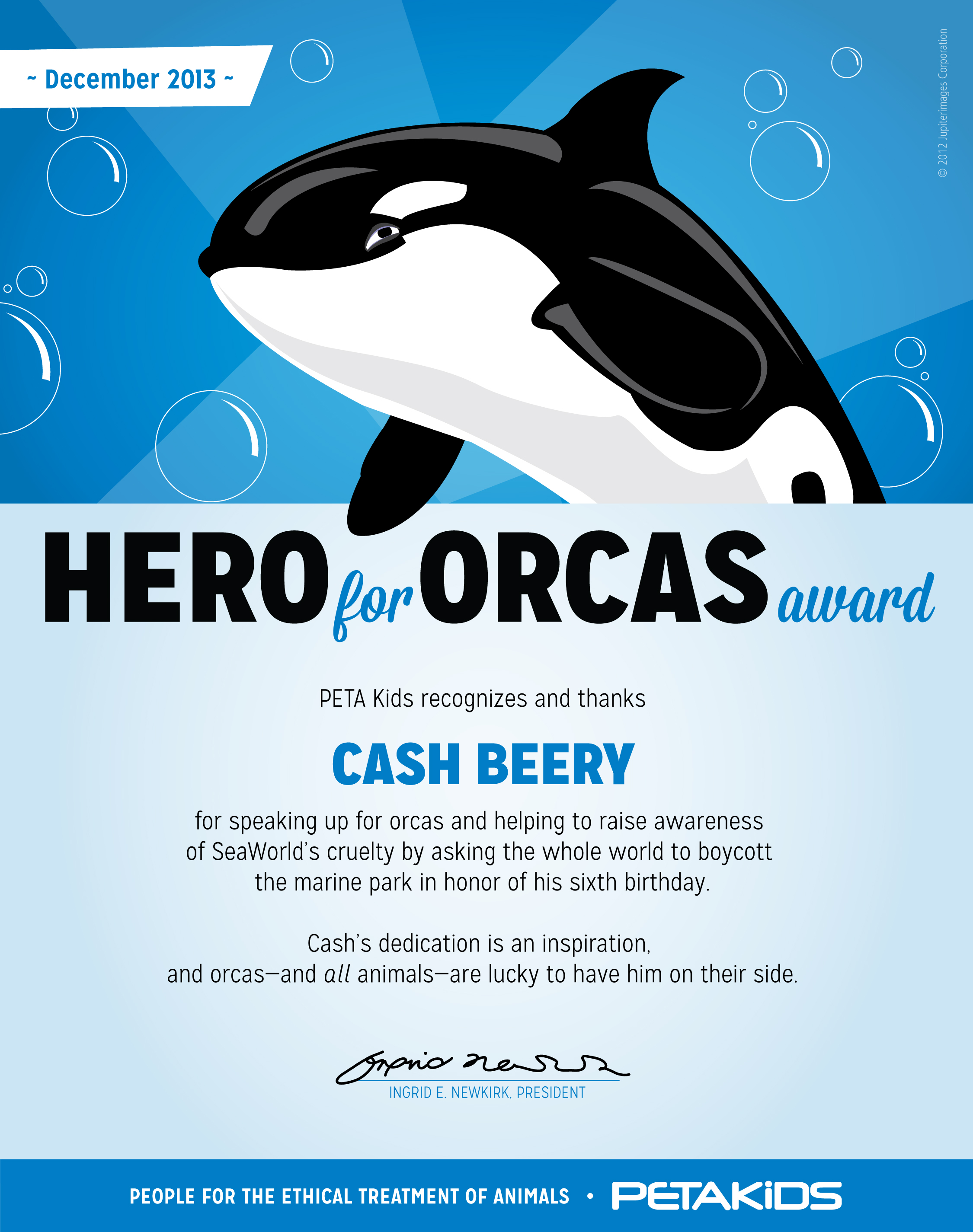 hero for orcas award cash beery