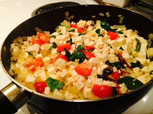 Tofu scramble in pan