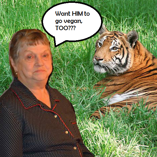 grandma with tiger