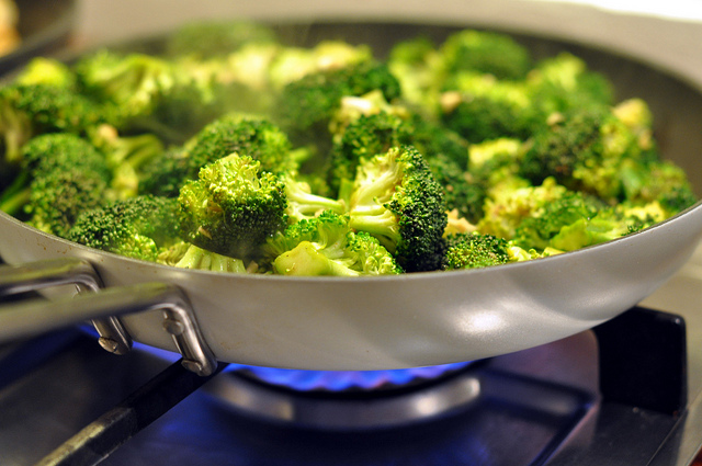 broccoli in a pan cooking
