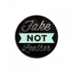 fake, not leather pin button