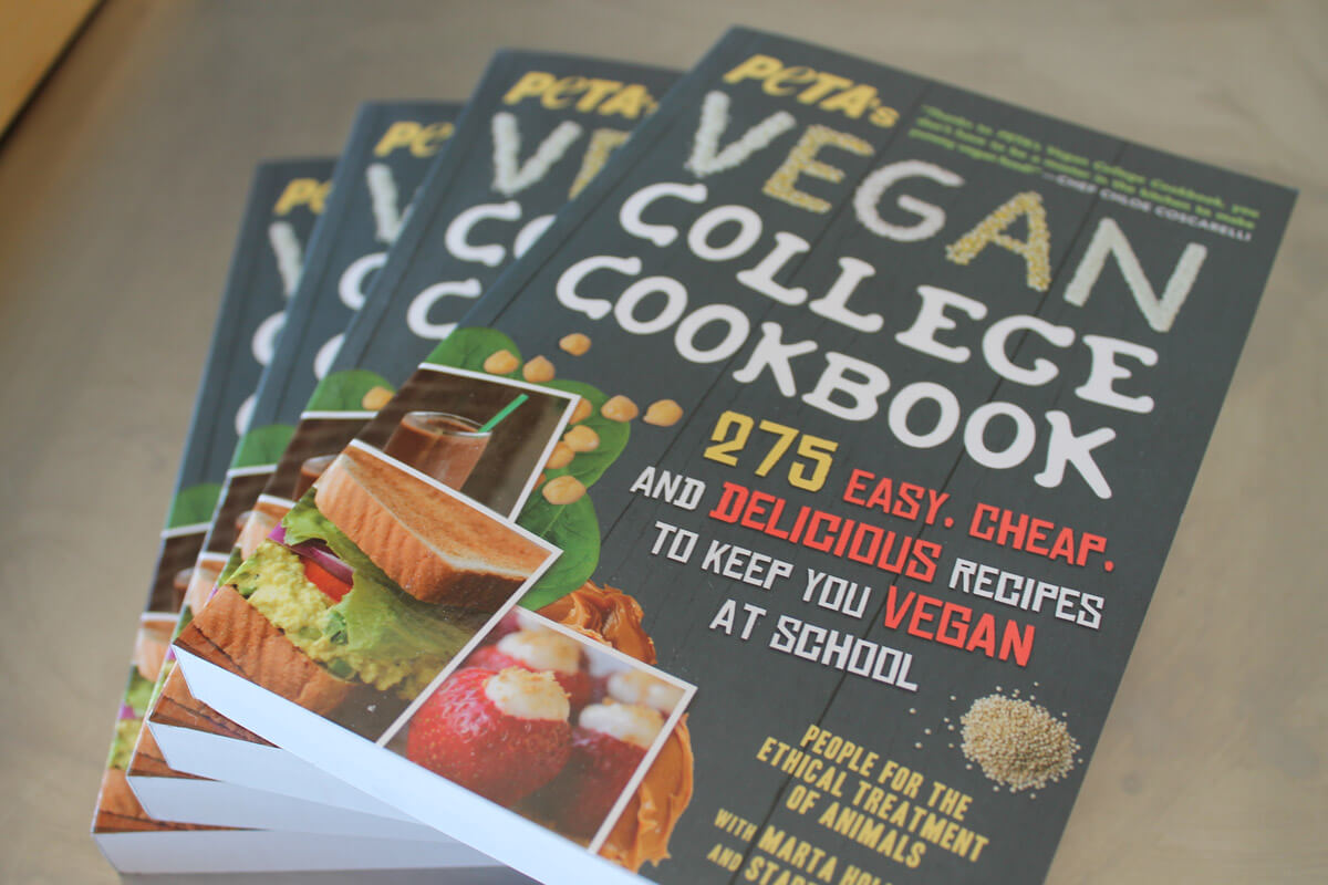 peta's vegan college cookbook overhead