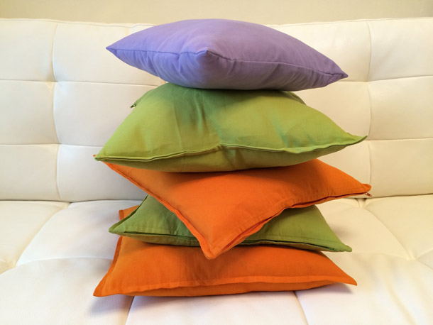Stack of colorful pillows