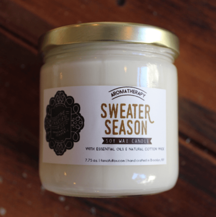autumn soy candle, pumpkin bath and beauty products