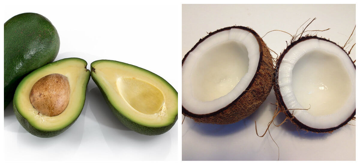 sliced avo and fresh coconut fruits